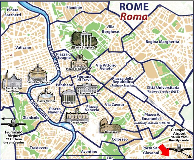 Cartina Roma Centro Con Monumenti.Dove Siamo B B Roma Casale De Santis